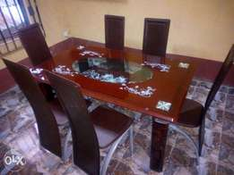 FR Six Seater Durable Glass Dining Table and Chairs (New)