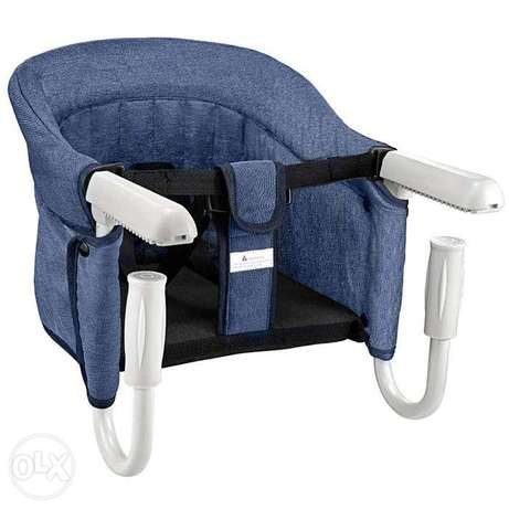 Foldable nonslip high baby chair attachable to the dining table (Blue)