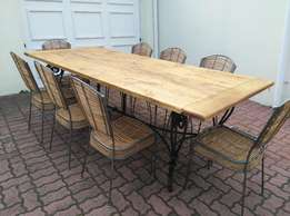 Large Solid Oak/Wrought Iron Table with 8 Metal/Bamboo Chairs 2,4 M X