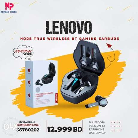 12.999BD Lenovo HQ08 True Wireless BT Gaming Earbuds with Graphene Dia