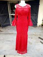 Red Colored 8 Pieces Gown With Sleeve.