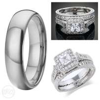 Appealing Platinum Plated His & Hers Wedding Rings Set