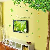 Green tree flying Leaves with butterfly wall sticker,living room TV