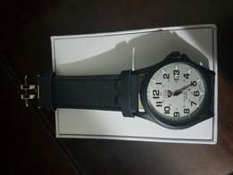 Mens Wristwatch SOKI black strap white face