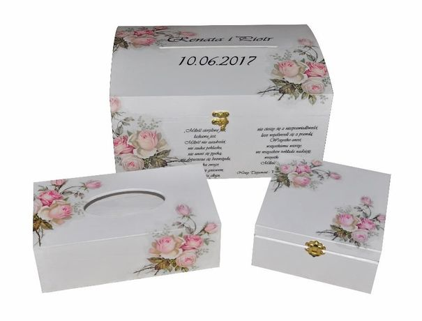 Aktualne Drewniane pudełko na telegramy ślubne, koperty, wesele Wołowice DS34