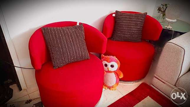 2 twin modern red chairs