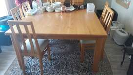 Solid Wood Dining Room Set Table Chairs And Side Board