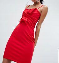 d122982046 Czerwona sukienka ołówkowa wiązanie kokardka midi na ramiączkach lou