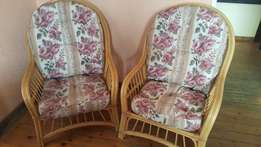 Pair of Cane Chairs With Cushions