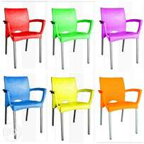 Fiesta plastic chair with armrests and aluminum legs - 1 Chair price