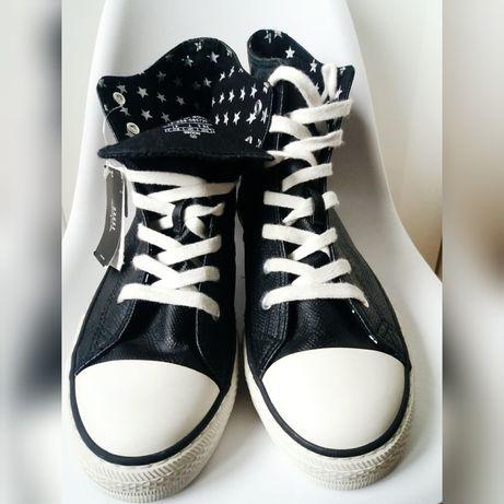 Skórzane trampki za kostkę, sneakersy, House gwiazdki. Emo