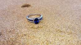 9ct white gold sapphire engagement ring 4 diamonds 11 sapphires