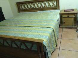 Queen Size Double Bed with 2 side tables (Wooden)