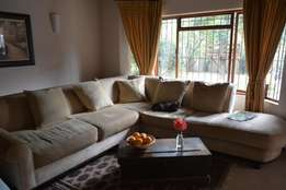 Large Golden Beige Couch (L-Shaped) For Sale