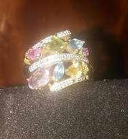 Genuine 9kt Gold Multi colour gemstone ring with small diamonds