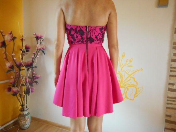 78315f4c4f kobieca sukienka AGNES M L wesele różowa fuksja rozkloszowana gorset  Zawiercie - image 4