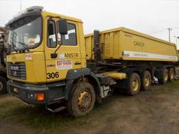Clean foreign used Man diesel tipping truck