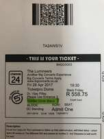 Lumineers tickets x 4. 28 April TicketPro dome Golden Circle