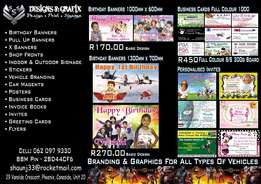 Birthday Banners (1m x 600) R170 With Any Theme n 1 Photo Basic Design