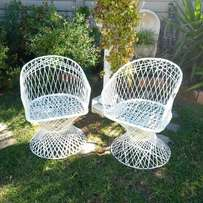 Pair of Decorative Garden Chairs in White