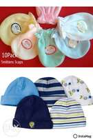 10Pack Quality Baby Mittens n Caps(0-6mnths)