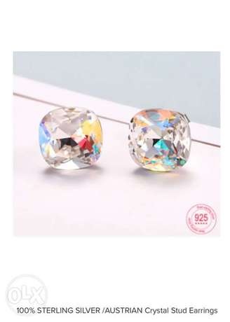 100% STERLING SILVER /AUSTRIAN Crystal Stud Earrings
