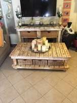 Whitewash Painted Wooden Slatted Dresser & Coffee Table for sale