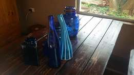 Beautiful blue stained glass vaises and jars