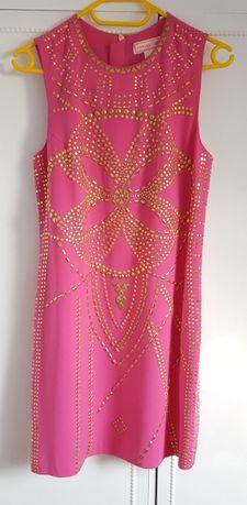 1a875d21e5 Sukienka Versace dla H M różowa jedwabna złote dżety cekiny 38 M zamek  Szczecin - image 1