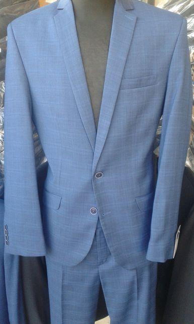 675f474fb0712 garnitur slim, nowy, jasny granat w kratę, wiosenna promocja - Kalisz -  Sprzedaż