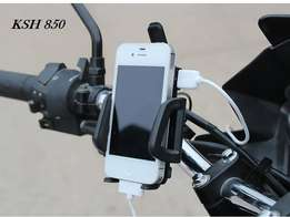 Motorcycle phone chargers and mobile phone holder.