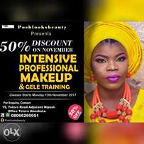 50% OFF This November on Professional makeup and Gele training