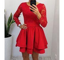 461bbaf335552d Nowa sukienka z metką rozkloszowana z długim rękawem czerwona