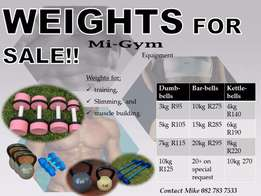Gym weights, dumbbells, barbells, kettlebells. wheel.