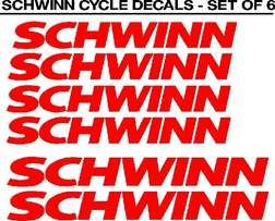 Schwinn bicycle frame and rim stickers decals sets