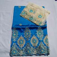 Turquoise Blue Indian Lace George With Blouse - 7 Yards