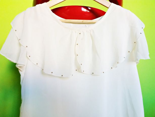 ZARA kremowa bluzka ZWIEWNA tunika wiskoza ŻABOTY mgiełka 38
