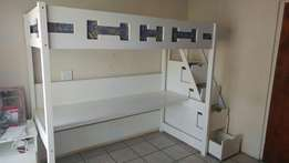 Bed and study combo with storage ladder and matress