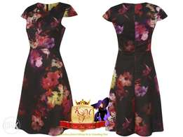 Floral Print Skater Dress Made in U.K