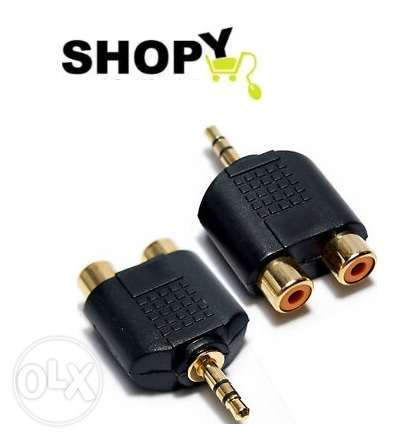 2 x 3.5MM AUX STEREO jack male plug to 2x rca phone audio converter ad