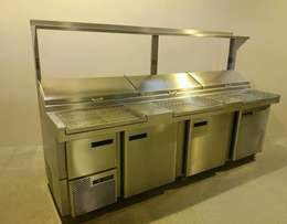 Stainless Steel Large Pizza Topping Preparation Fridge Chiller 2.8m