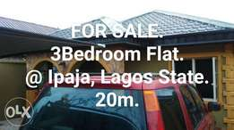 A 3 Bedroom Bungalow Flat in a nice Environment For Sale.