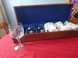 Lead Crystal Wine Glasses in Imbuia Showcase Complete Set, never used.
