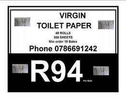 48 rolls , 300 sheets virgin toilet paper only R94 , at Vefa