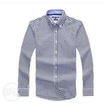 Tommy Hilfiger Men's Checkered Long Sleeve Shirt - White/Navy