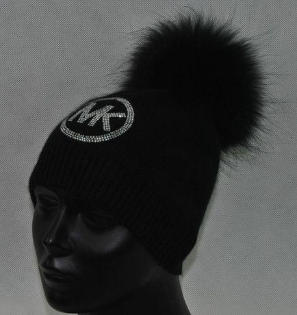 bbd521007269f wełniana czapka biała czarna szara beż cyrkonie logo mk michael kors Wrocław  - image 6