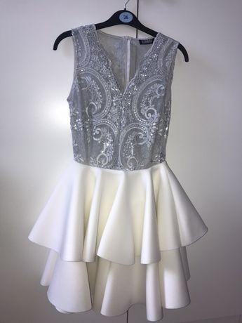 c8c13fe73a Piękna srebrno biała sukienka na bal gimnazjalny wesele studniówkę Garwolin  - image 1