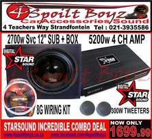 STARSOUND 5200W 4 Channel Amp + 2700w Starsound Svc Sub Combo Deal