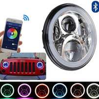 RGB LED Headlights With Bluetooth Remote Control Halos:For Jeep:30,000