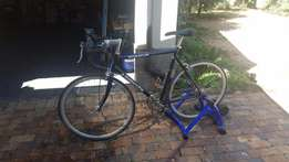 Avalanche Stratus road bicycle with Giant Indoor Trainer